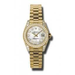 Rolex Lady Datejust Yellow Gold White mop/diamond President 179158