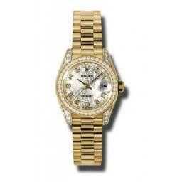 Rolex Lady Datejust Yellow Gold Silver Jub/diamond President 179158