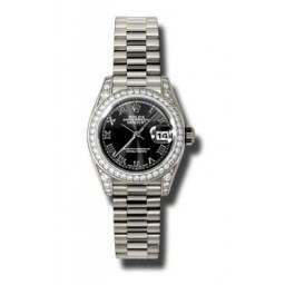 Rolex Lady Datejust White Gold Black Roman President 179159