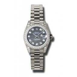 Rolex Lady Datejust White Gold Black mop/diamond President 179159
