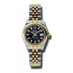Rolex Lady-Datejust Black/index Jubilee 179163