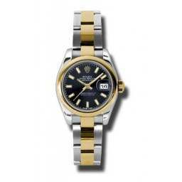 Rolex Lady-Datejust Black/index Oyster 179163