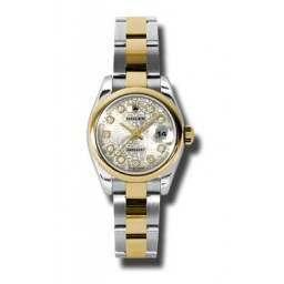 Rolex Lady-Datejust Silver Jub/Diamond Oyster 179163