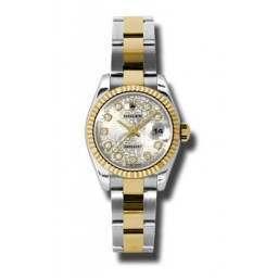 Rolex Lady-Datejust Silver Jub/Diamond Oyster 179173