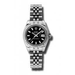 Rolex Lady-Datejust Black/index Jubilee 179174