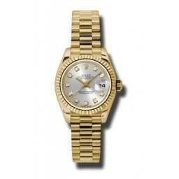 Rolex Lady-Datejust Silver/Diamond President 179178