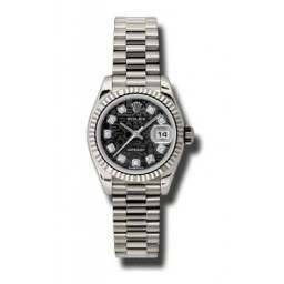 Rolex Lady-Datejust Black Jub/Diamond President 179179