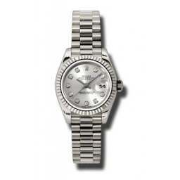 Rolex Lady-Datejust Silver/Diamond President 179179