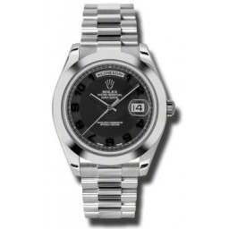 Rolex Day-Date II Black Arab Concentric President 218206