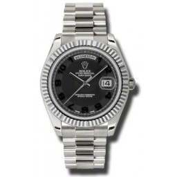 Rolex Day-Date II Black Arab Concentric President 218239