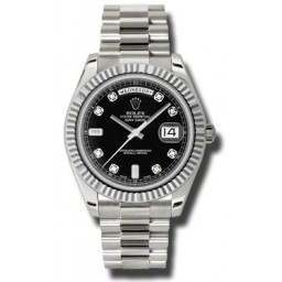 Rolex Day-Date II Black/Diamond President 218239