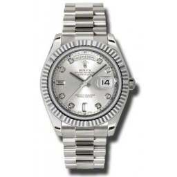 Rolex Day-Date II Silver/Diamond President 218239