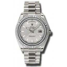 Rolex Day-Date II Silver/index President 218239