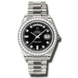 Rolex Day-Date II Black/Diamond President 218349