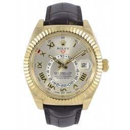 Rolex Sky-Dweller Yellow Gold Silver Roman Leather 326138