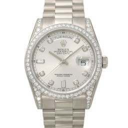 Rolex Day-Date Silver/Diamond President 118389