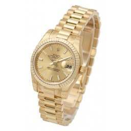 Rolex Lady-Datejust Champagne/index President 179178