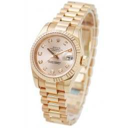 Rolex Lady-Datejust Pink/Diamond President 179175