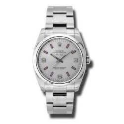 Rolex Oyster Perpetual Silver Arab Pink index Oyster 114200