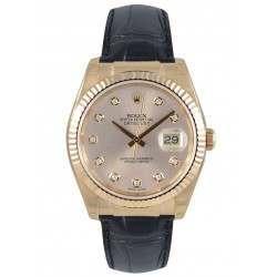 Rolex Datejust 36mm Everose Gold Pink/Diamond Leather 116135