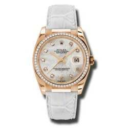 Rolex Datejust 36mm Everose Gold White mop/Diamond Leather 116185