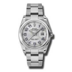 Rolex Datejust Silver Decorated Arab/Blue Oyster 116200