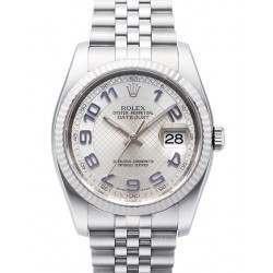 Rolex Datejust Silver Decorated Arab/Blue Jubilee 116234