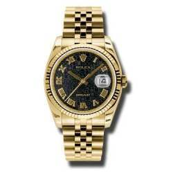 Rolex Datejust 36mm Yellow Gold Black Jub Roman Jubilee 116238