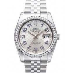 Rolex Datejust Silver Decorated Arab/Blue Jubilee 116244
