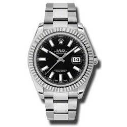 As New Rolex DateJust II Black Baton Dial 116334