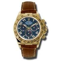 Rolex Cosmograph Daytona 18ct Yellow Gold Blue Arab Leather 116518