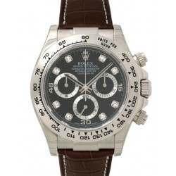 Rolex Cosmograph Daytona Black/8 Diamond Leather 116519
