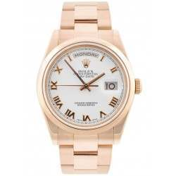 Rolex Day-Date White Roman Dial Oyster Bracelet 118205