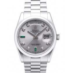 Rolex Day-Date Rhodium/Diamond & Emeralds President 118206