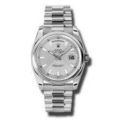 Rolex Day-Date Silver/index President 118206
