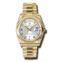 Rolex Day-Date Silver/Diamond President 118208