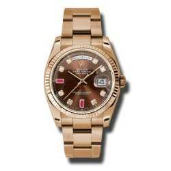 Rolex Day-Date Chocolate/8 Diamond & 2 Rubies Oyster 118235