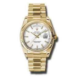Rolex Day-Date White/index President 118238