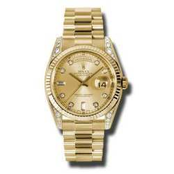 Rolex Day-Date Yellow Gold Champagne/Diamond President 118338