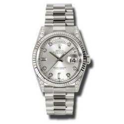 Rolex Day-Date Silver/Diamond President 118339