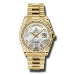 Rolex Day-Date Yellow Gold White mop/Diamond President 118348