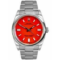 Rolex Oyster Perpetual 36mm Steel / Coral Red Dial 126000