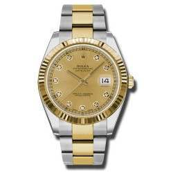 Rolex Datejust 41 Steel and Gold Champagne/Diamond Oyster 126333