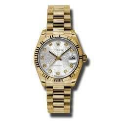 Rolex Lady Datejust 31mm Silver Jub/diamond President 178278
