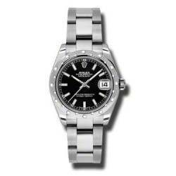 Rolex Lady Datejust 31mm Black/index Oyster 178344