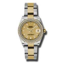 Rolex Lady Datejust 31mm Champagne/index Oyster 178383
