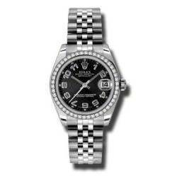 Rolex Lady Datejust 31mm Black Arab Concentric Jubilee 178384