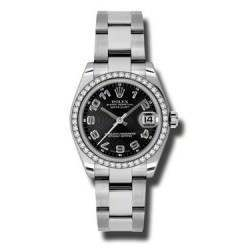 Rolex Lady Datejust 31mm Black Arab Concentric Oyster 178384