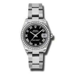 Rolex Lady Datejust 31mm Black Roman Oyster 178384