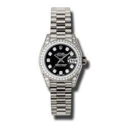 Rolex Lady Datejust White Gold Black/diamond President 179159